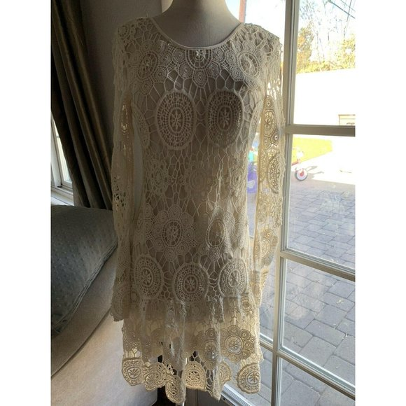 NEW Free People Ivory Crochet Mini Dress XS